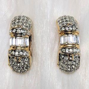Jewelry - Pave Half-Hoop Earrings